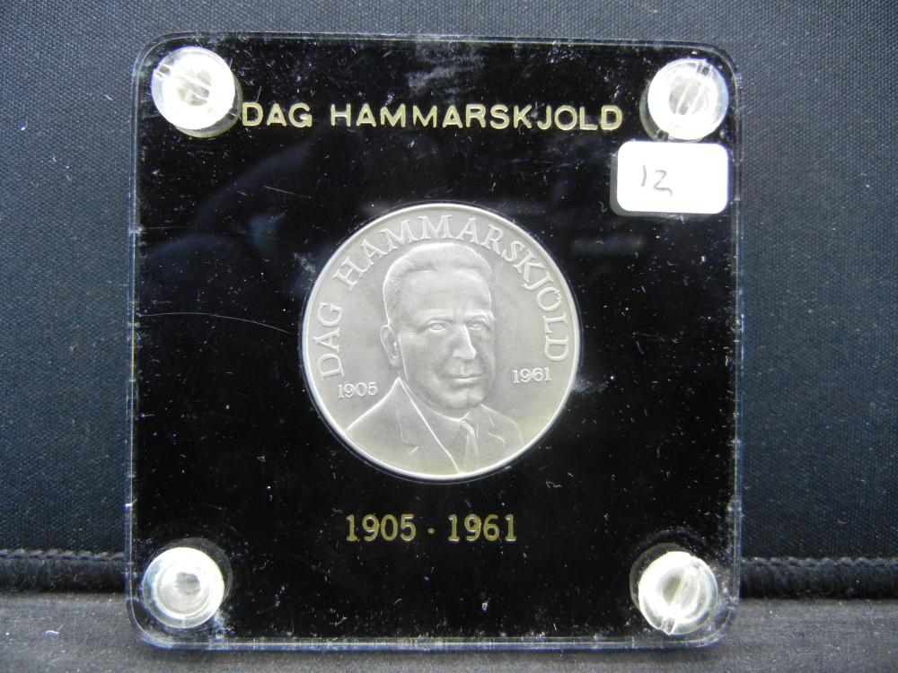 Dag Hammarskjold Commemorative Medal in great plastic holder.   BU.