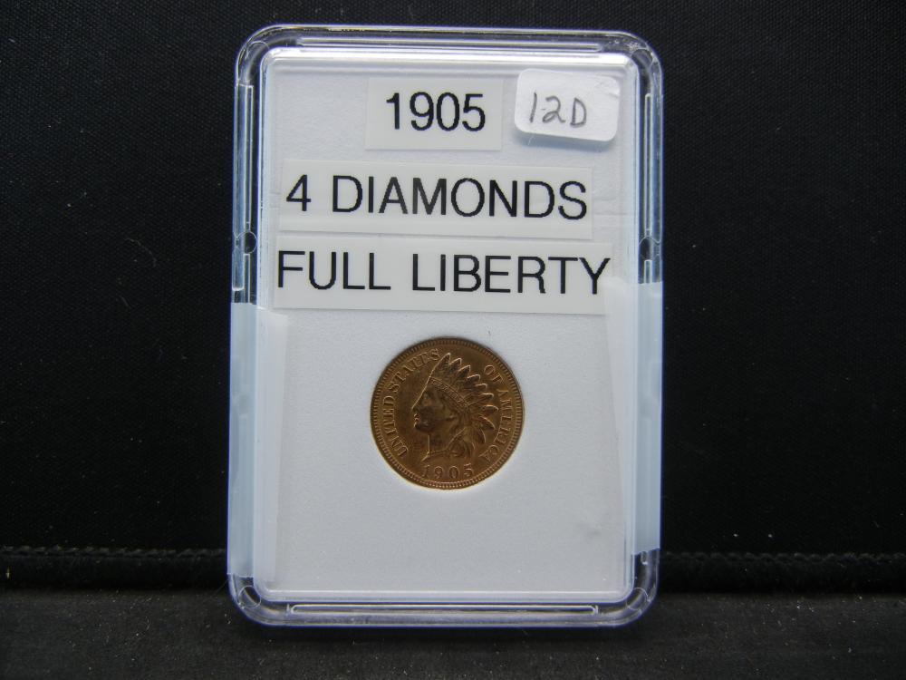 1905 Indian Head Cent. 4 Diamonds, Full Liberty