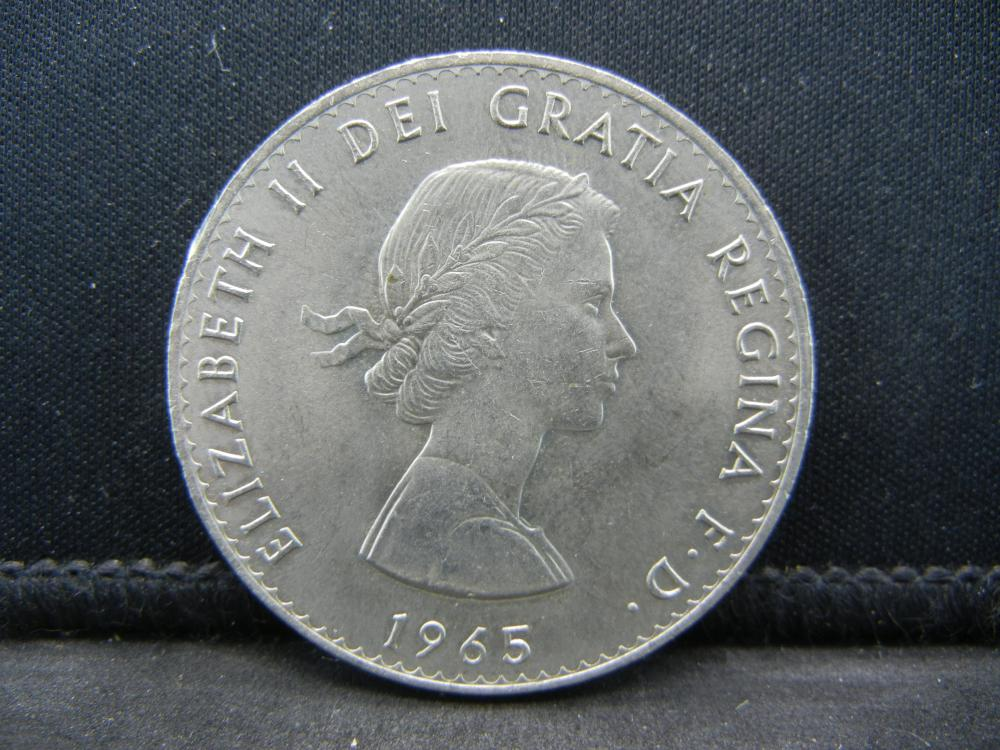1965 Great Britain 1 Crown Coin.  Reverse Portrait of Winston Churchill.