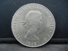 1965 Great Britain 1 Crown Coin.  Reverse Portrait of Winston Churchill.