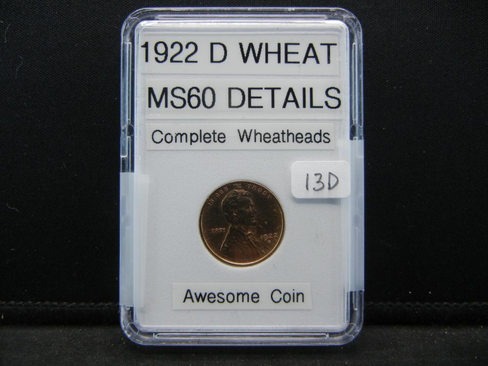 1922-D Wheat Cent. Complete Wheat Heads, Outstanind Details