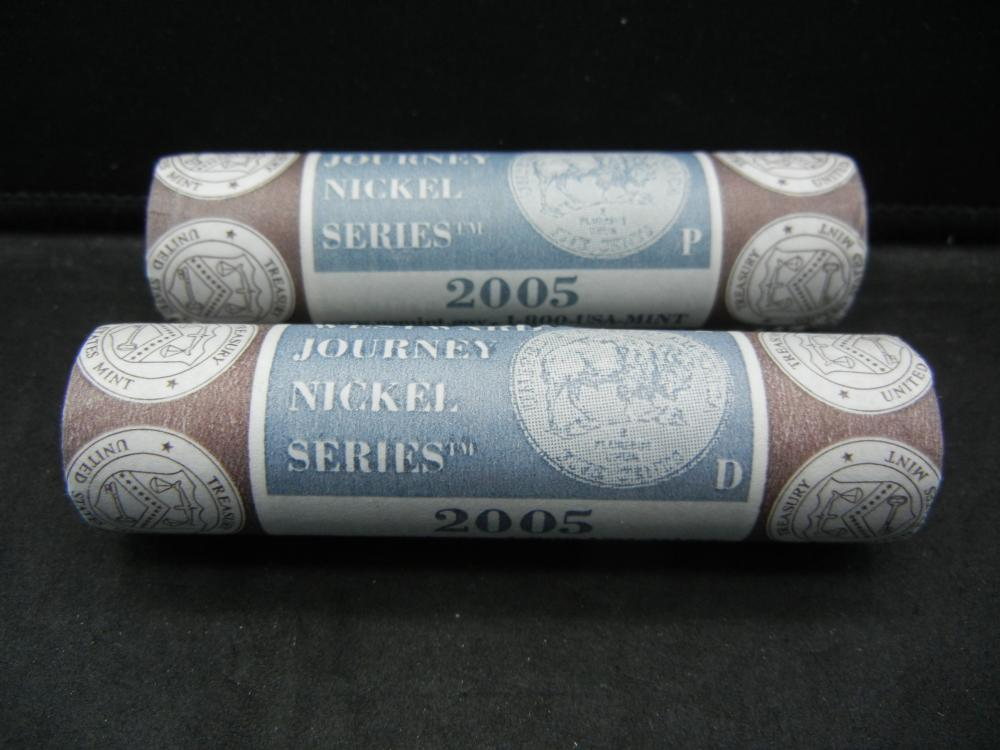 2005 P and D Mint Wrapped rolls of Lewis & Clark Buffalo Nickels.   GEM.
