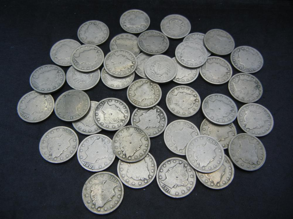 Roll of 40 nice V nickels.   Circulated.