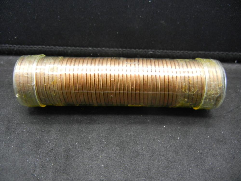 Beautiful red roll of 1955 Wheat Cents.  50 coins.  BU.