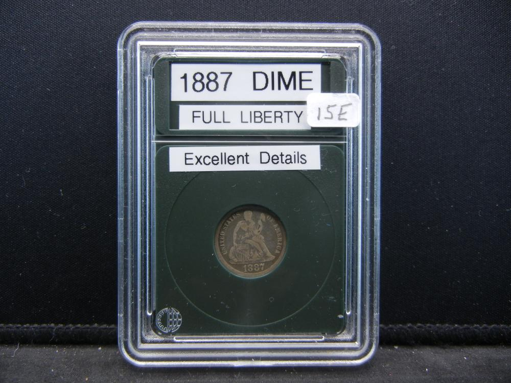 1887 Seated Dime, Full Liberty. Excellent Details