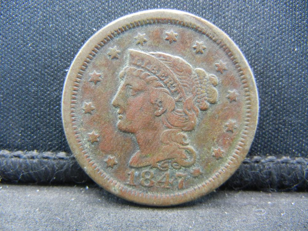 1847 United States Braided Hair Large Cent.