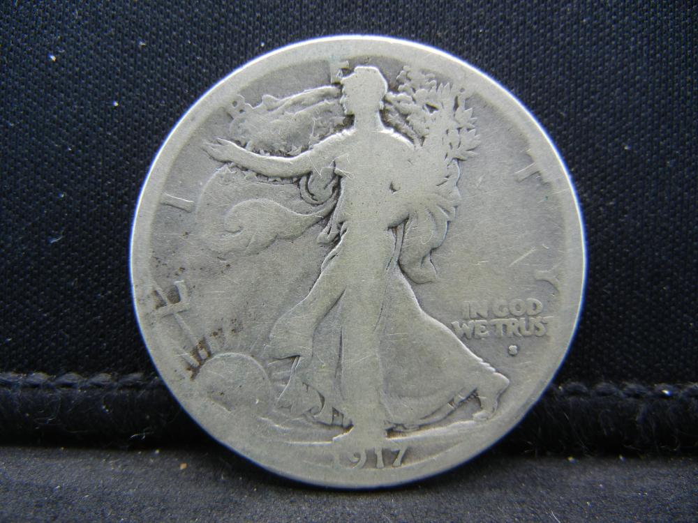 1917-S Obverse Walking Liberty Half Dollar.