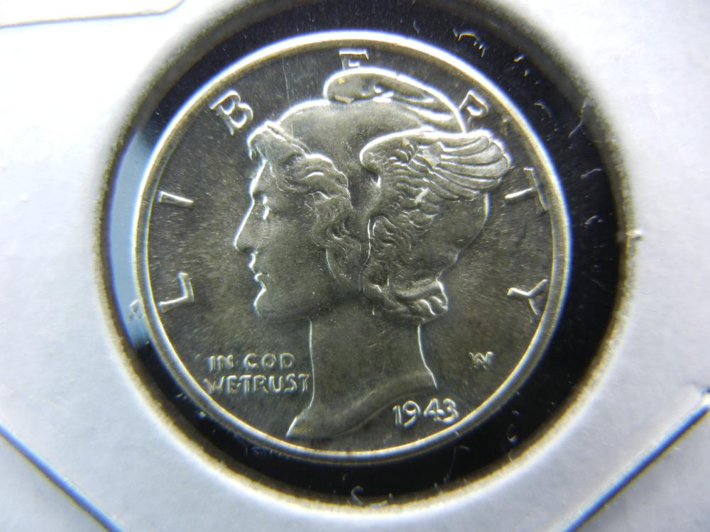 1943-D Mercury Dime.   Mint State 65 with full split bands.  Great coin.