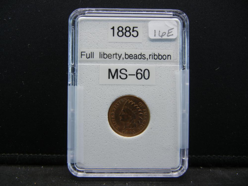 1885 Indian Head Cent, Full Liberty, Great Details on Tougher Date