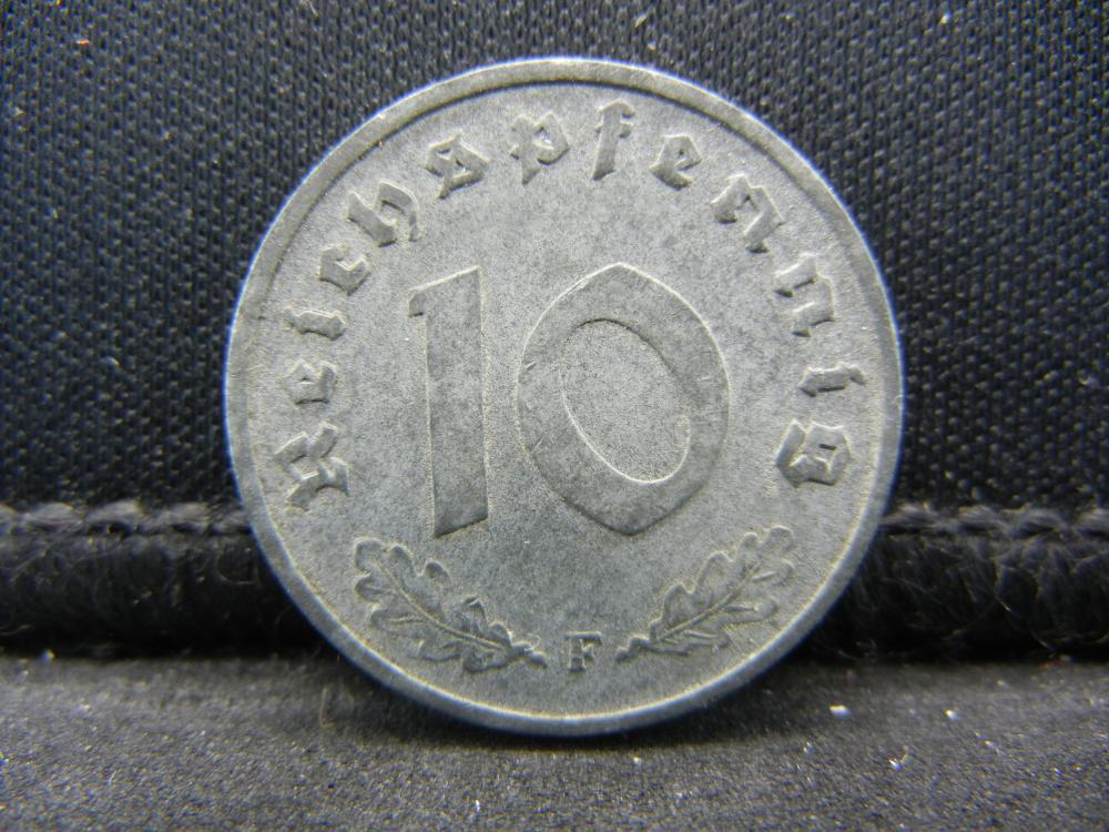 1943 German Deutsch Reich 10 Pfennig  Coin.