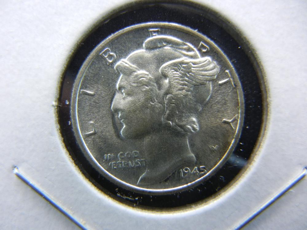 1945 Mercury Dime.   MS 66 GEM.  Almost Flawless.