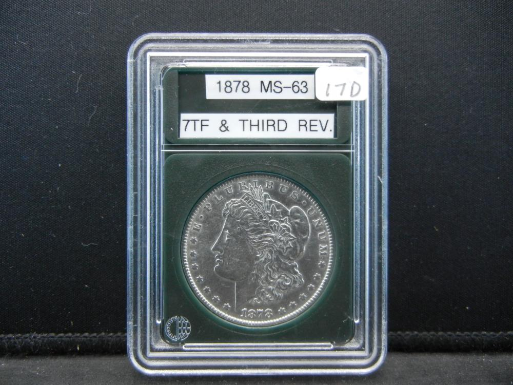 1878 Morgan Silver Dollar, 7 Tail feathers and Third Reverse. Outstanding Details