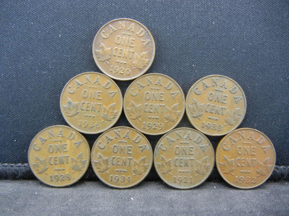 8 George V Canadian Cents.  1920 1921 1928 1929 1932 33 34 36.