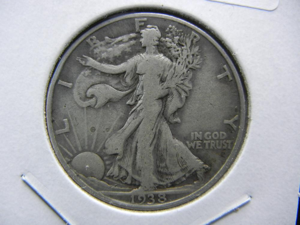 1938-D Walking Liberty Half.  Very low mintage; thus, a KEY date.  Fine and original.