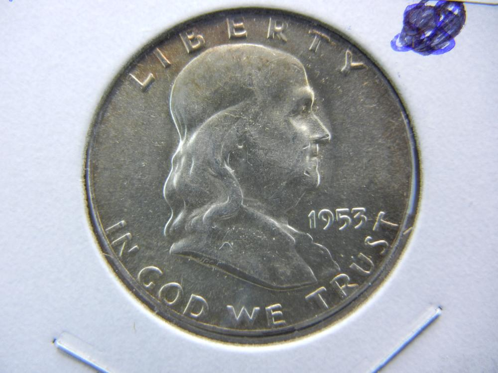 1953 Franklin Half.   Brilliant Uncirculated.   A key in that series.