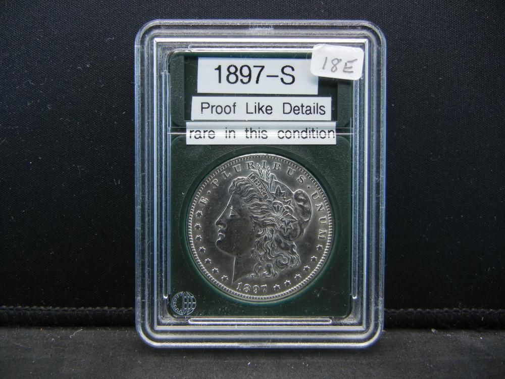 1897-S Morgan Silver Dollar. Proof Like Details. Rare in this condition