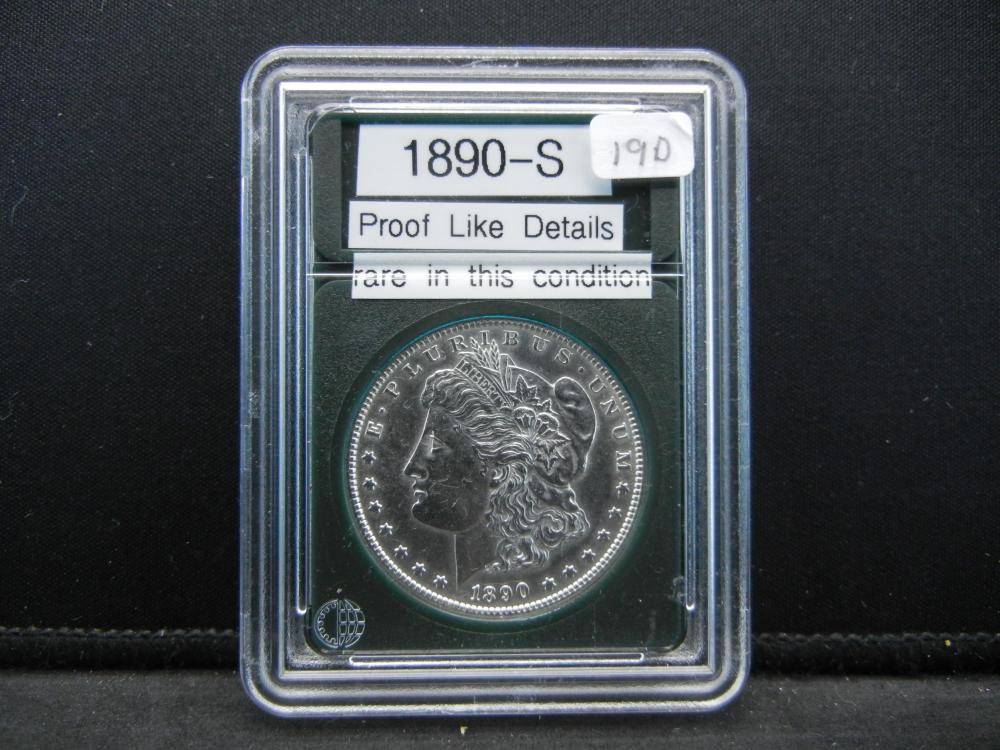 1890-S Morgan Silver Dollar. Proof Like Details. Rare In this condition