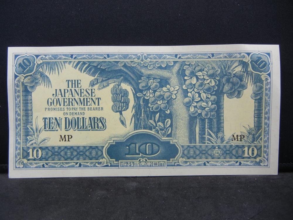 World War II Japanese 10 Dollars Malaya Occupation Note.  Nice Crisp Note.