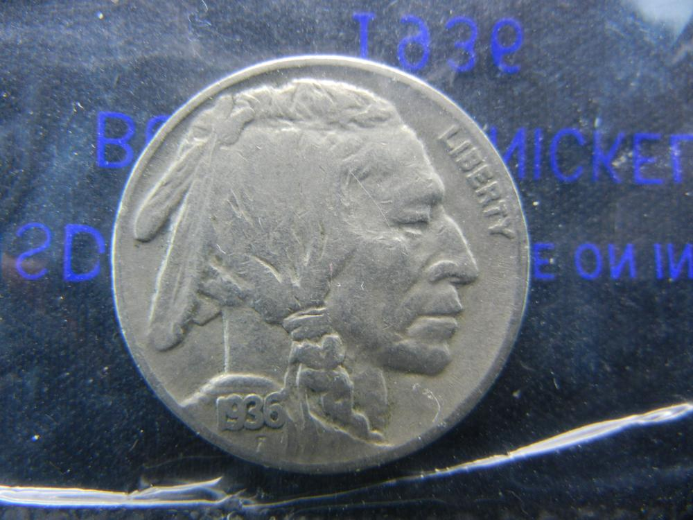 1936 Buffalo Nickel Packaged by Littleton Coin Company in Cellophane.