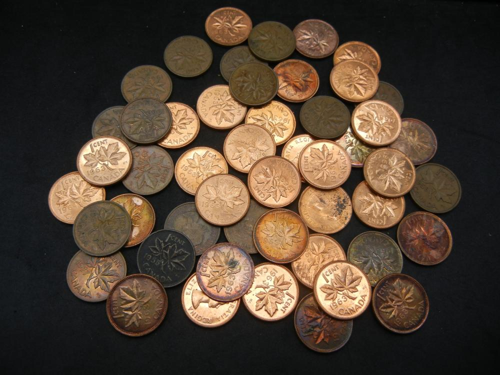50 Canadian Copper Cents Dated Before 1997.
