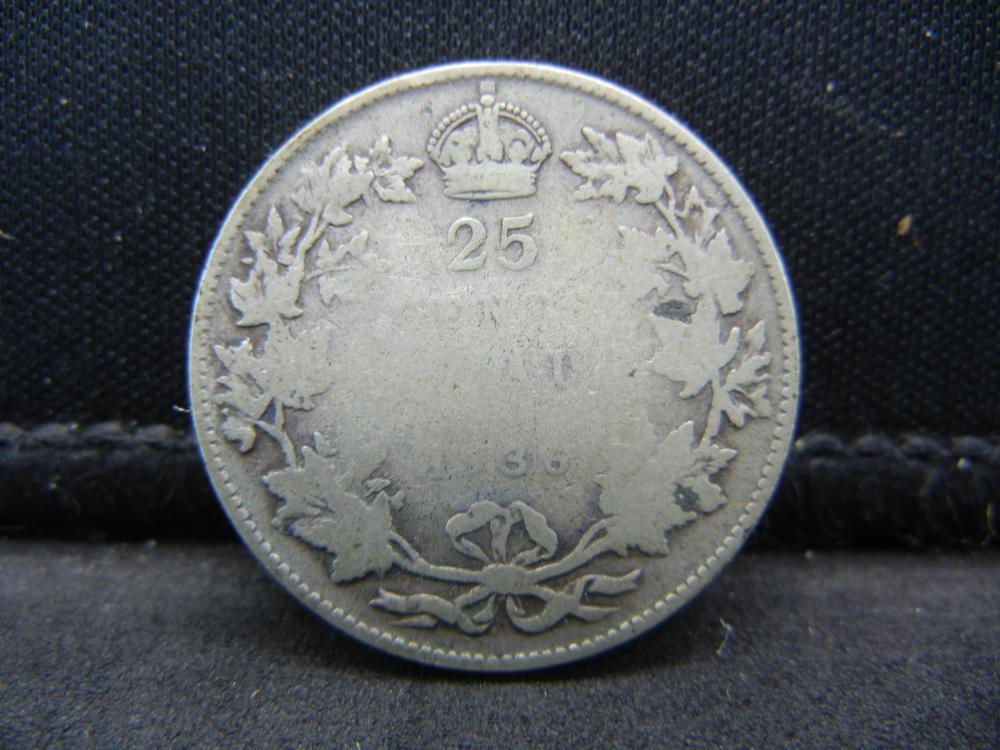 1936 Canada Sterling Silver (92.5%) Quarter.  Coin Weighs 0.18 Troy Ounce.