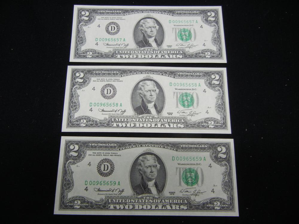 (3) 1976 $2 Federal Reserve Notes.     Consecutive Serial Numbers.   GEM.