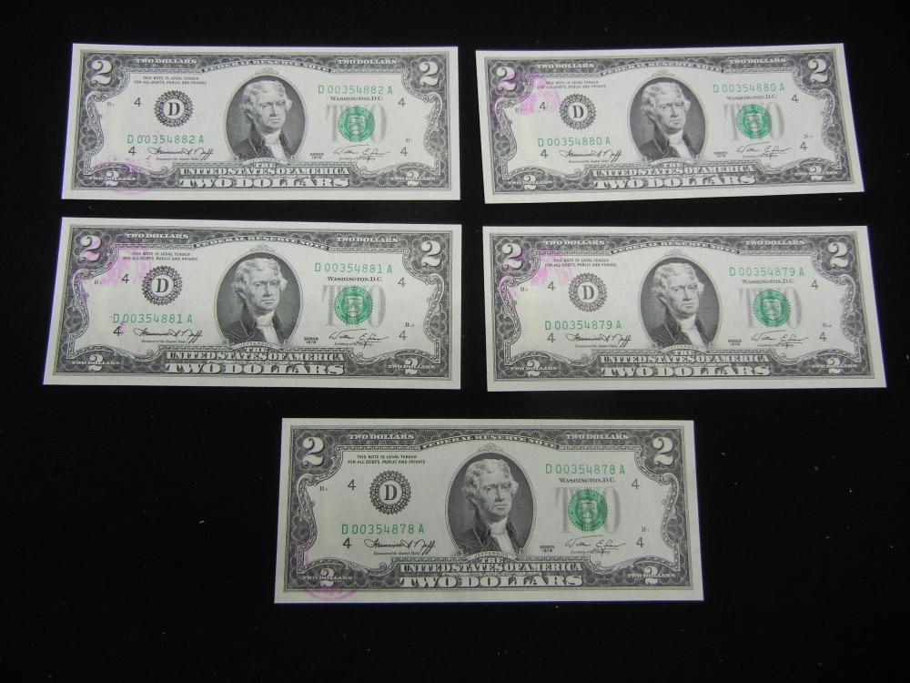 (5) 1976 $2 Federal Reserve Note First Day Covers—Painesville Ohio.     Consecutive Serial Numbers.   GEM.