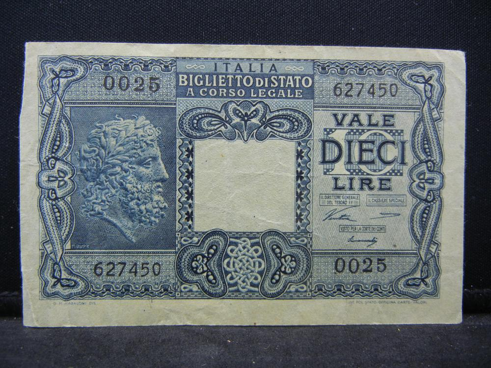 1944 10 Lire Italy Bank Note.  Serial # 627450 0025