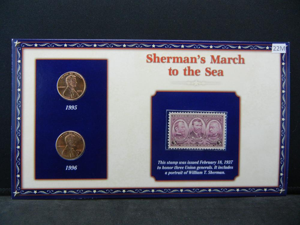 1995 1996 Lincoln Cents and Stamp Set Remembering Sherman's March to Sea During Lincoln Presidency.