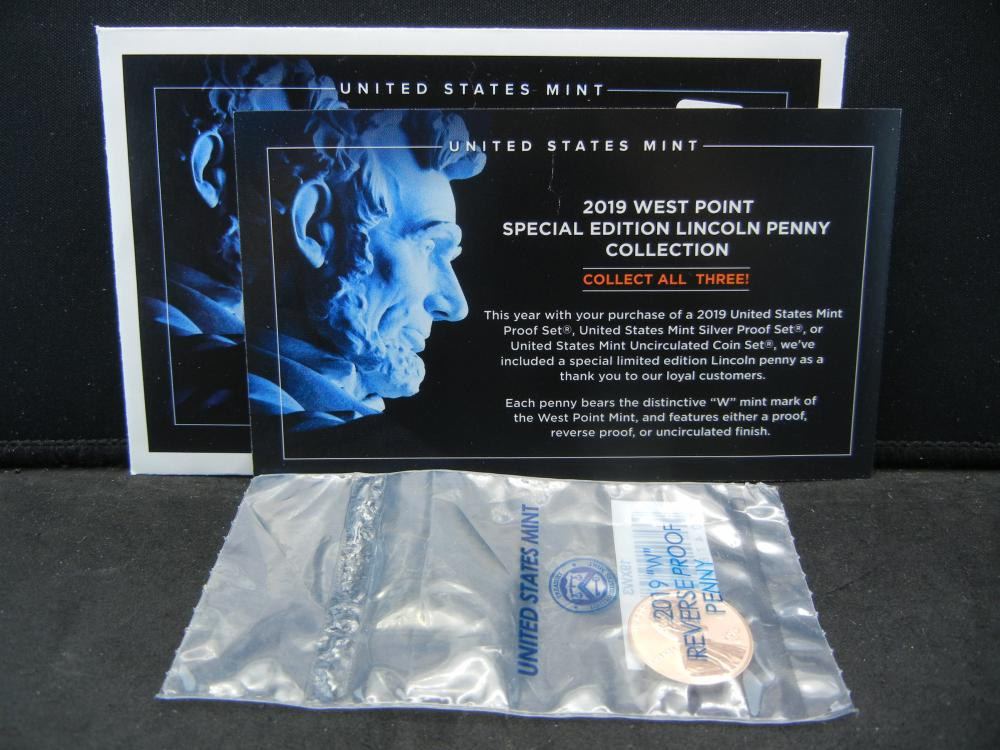 Show stopper.  2019 West Point Special Edition Reverse Proof Lincoln with COA. Low mintage.