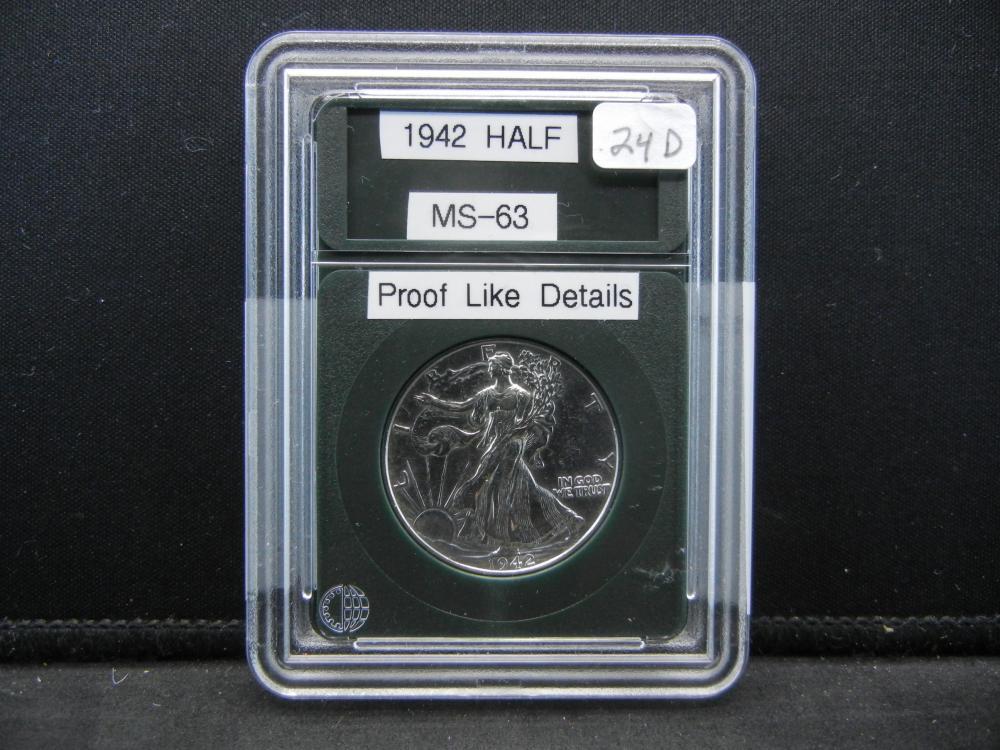 1942 Liberty Half Dollar, Proof Like Details
