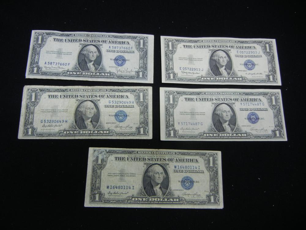 5-1935 $1 Blue Seal Silver Certificates.