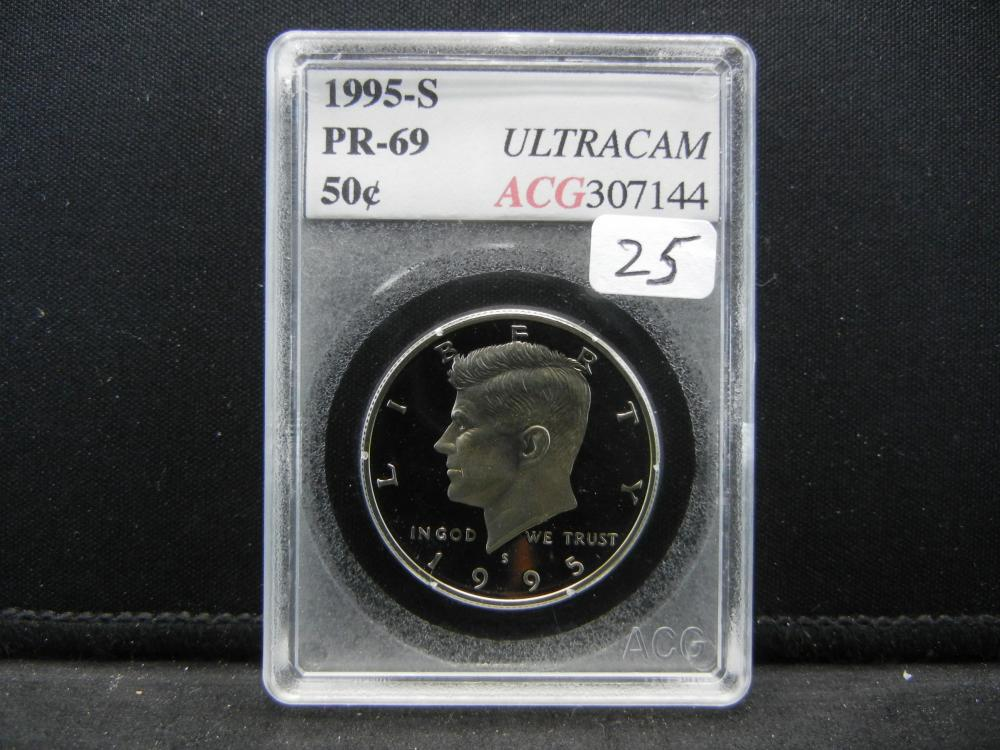 1995-S Kennedy Half.  Slabbed as PR69 Ultra Cameo by Accugrade.
