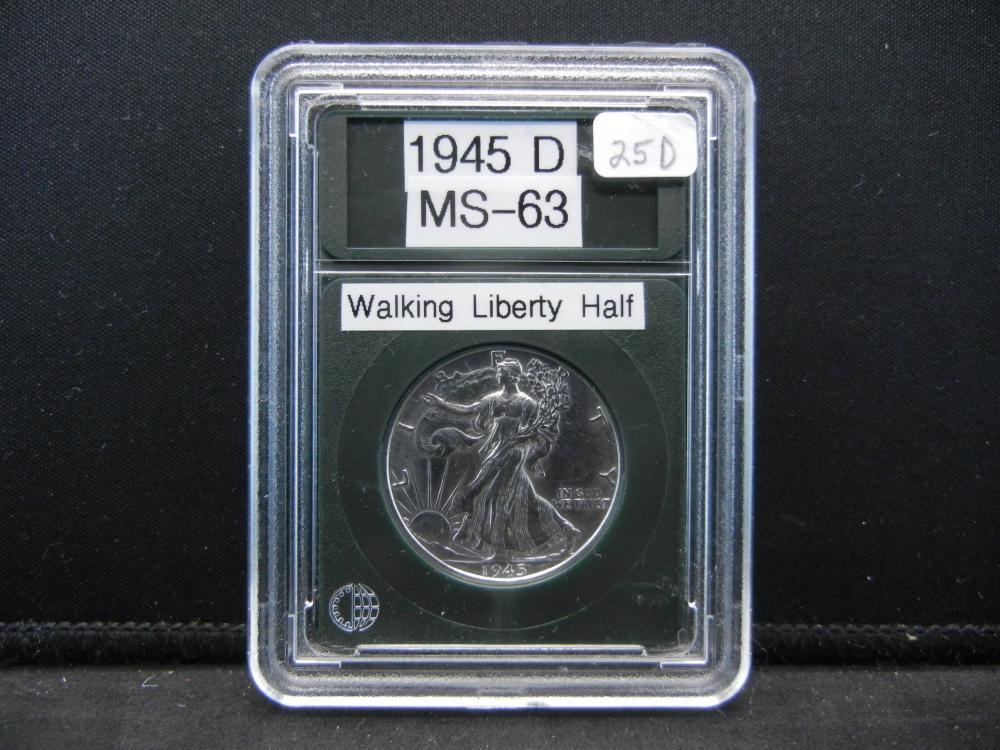 1945-D Walking Liberty Half Dollar, Proof Like Details