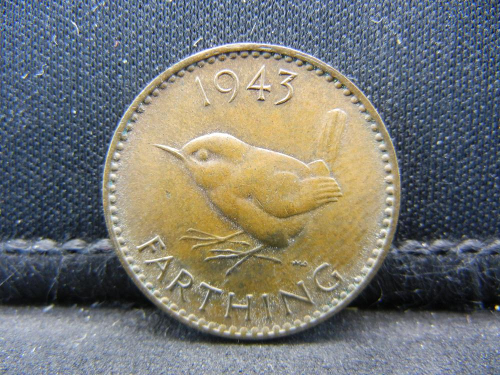 1943 Great Britain 1 Farthing.  Nice Red Brown Surfaces.