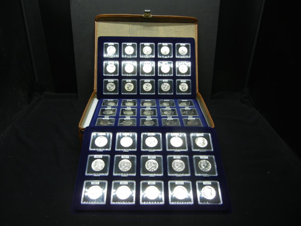 45 Consecutive Kennedy Half Dollars. (1983-2004) All BU. In Lovely Leather Case