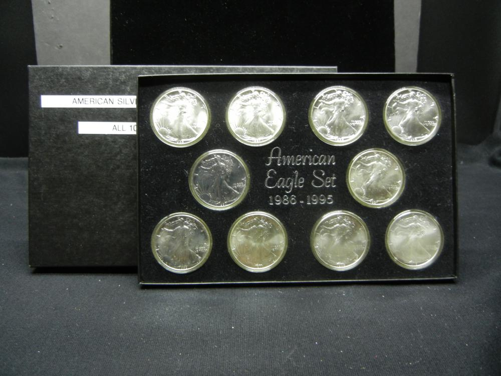 American Silver Eagle Consecutive Set. (1986-1995) All 10 Coins are Mint State Quality. Wonderful Collecion