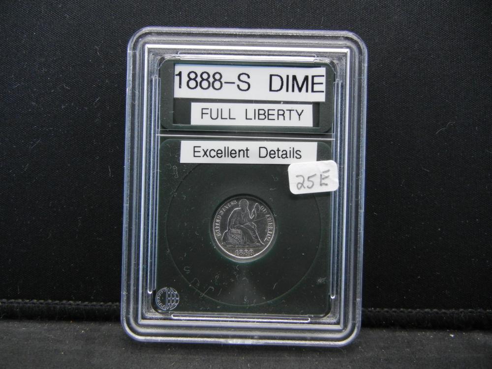 1888-S Dime. Full Liberty, Excellent Details