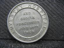 COVENTRY HOSPITAL & GODIVA PROCESSION MEDAL DATED 1929.  THE GODIVA PROCESSION HAS TAKEN PLACE IN COVENTRY, ENGLAND SINCE THE 1700'S.  THEY REENACT LADY GODIVA RIDING A HORSE IN THE NUDE