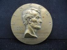 HIGH RELIEF BRONZE MEDAL DEPICTING ABRAHAM LINCOLN MADE BY MEDALLIC ARTS