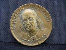 BRONZE HIGH RELIEF BENJAMIN FRANKLIN MEDAL