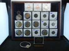 JUNK DRAWER LOT LADY'S BULOVA WATCH, DENVER MINT MEDAL AND STAND, GOLD PLATED STATE QUARTERS, THREE 1955 POOR MAN'S DOUBLE DIE PENNIES, FLORENCE TRACK MEET MEDAL DATED 1968, 1867 SHIELD NICKEL, 5 V NICKELS, HOLED 2 CENT PIECE, PROOF TEXAS STATE