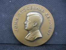 Bronze John f Kennedy high relief medal