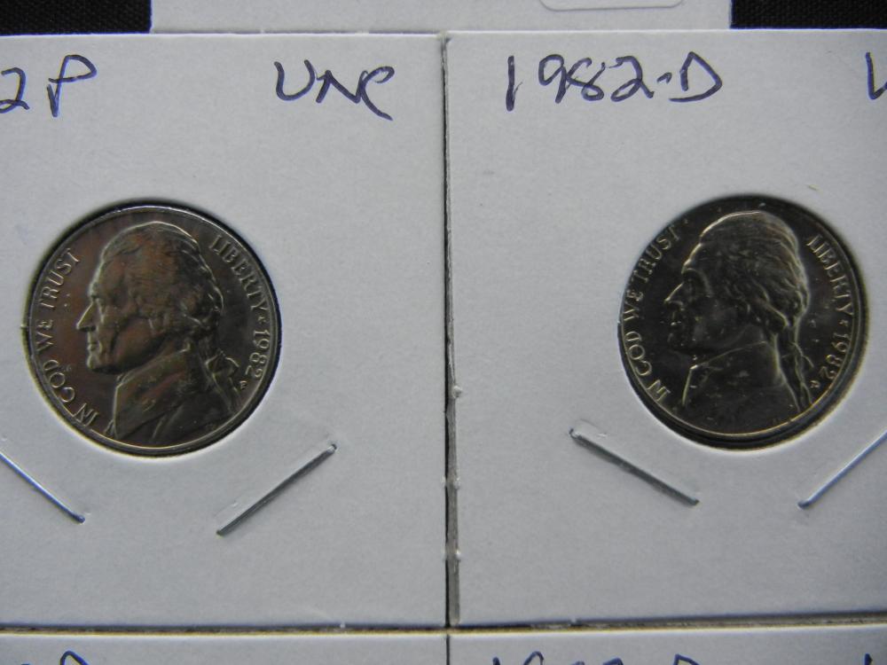 5) 1982 coins— tough year  P/D Nickel, 82 P/D dime, 82 P