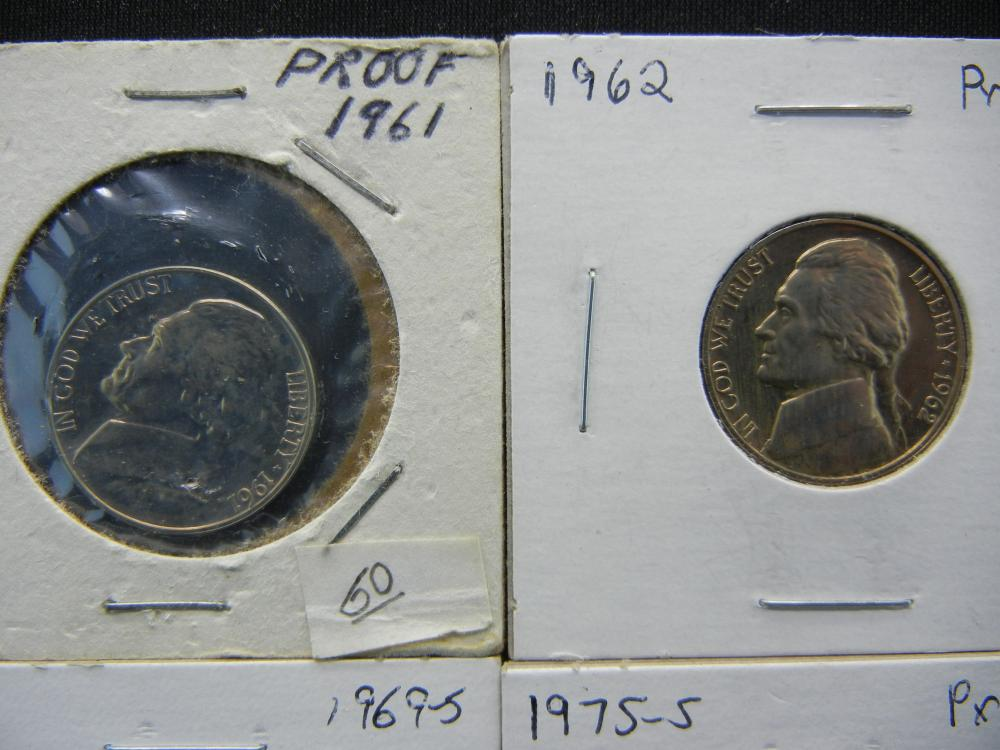 1961, 1962, 1969-S, 1975-S Proof Jefferson Nickels