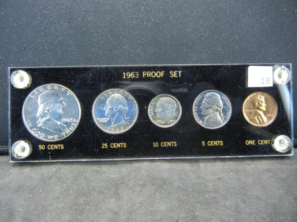 1963 90% Silver Proof Set. 90% Silver Franklin, Washington Quarter, and Roosevelt Dime