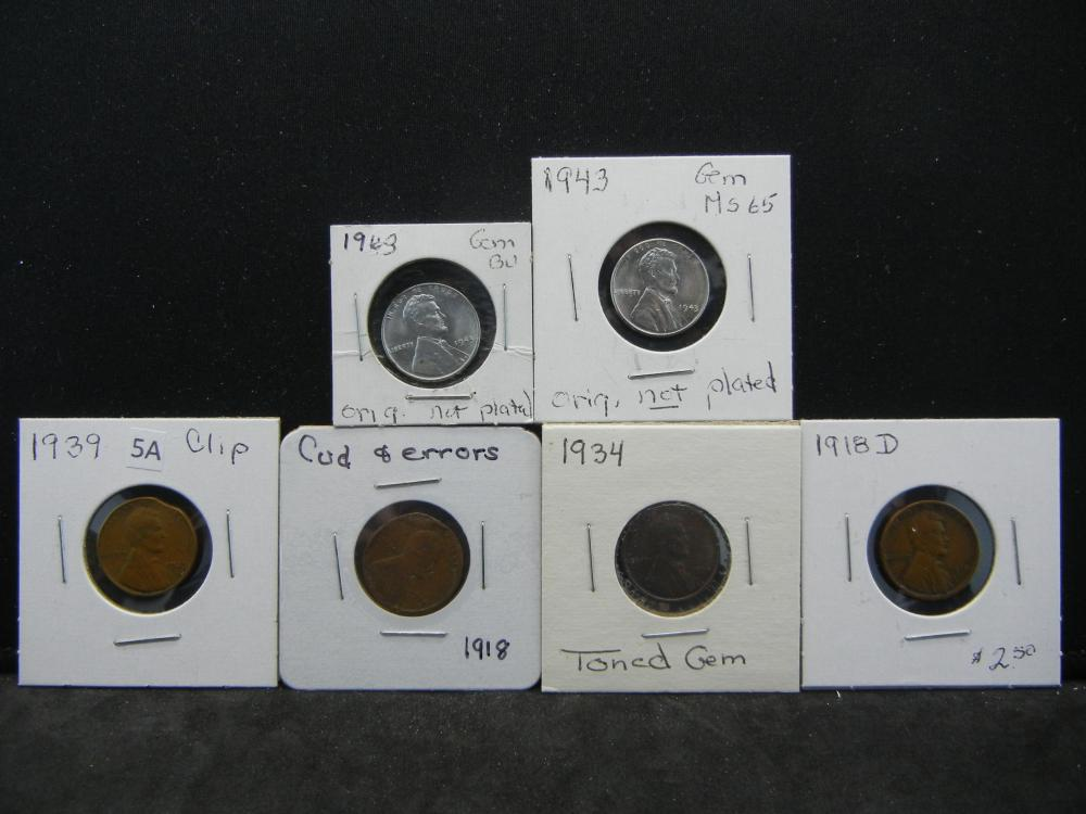 1918-D, 1918, 1939, 1934, 1943, 1943 Lincoln Wheat and Steel Cents