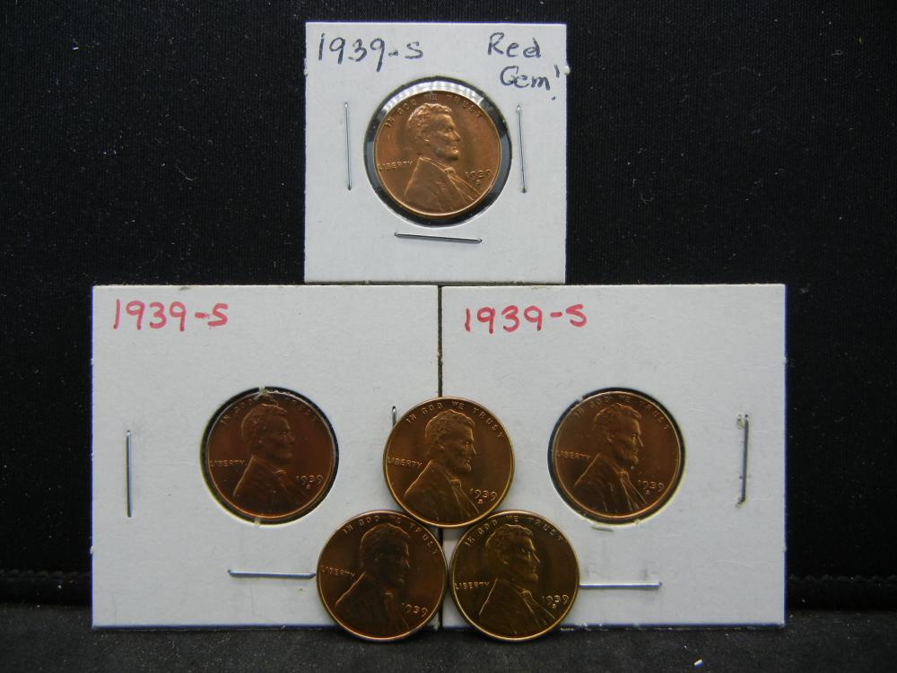 (5)1939-S, 1939 Lincoln Wheat Cents