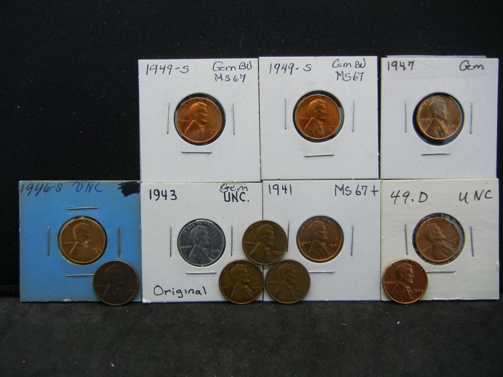 (12) Mixed Date Lincoln Wheat Cents. 1940s-1950s