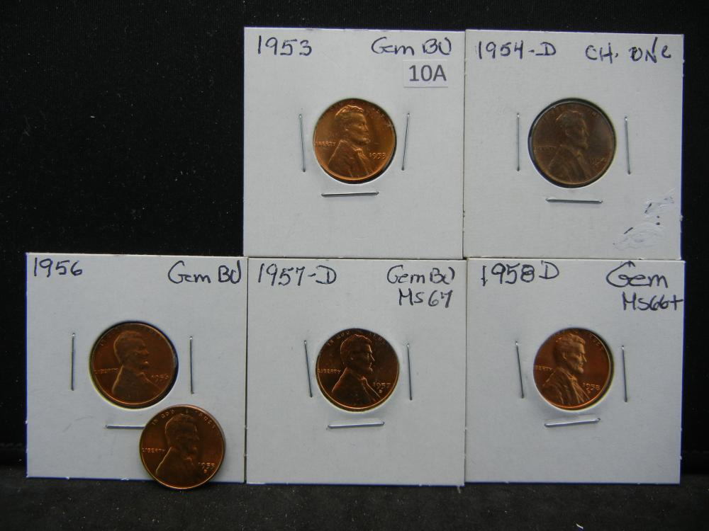 1953-1958 Lincoln Wheat Cents. All very nice, some toned